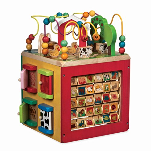 Battat – Wooden Activity Cube – Discover Farm Animals Activity Center for Kids 1yr+