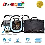 PET4FUN PN935 35' Portable Pet Puppy Dog Cat Animal Playpen Yard Crates Kennel w/ Premium 600D Oxford Cloth, Tool-Free Setup, Carry Bag, Removable Security Mesh Cover/Shade, 2 Storage Pockets(Blue)