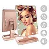 FENCHILIN Bluetooth Mirror 20 LED Lights Makeup Mirror with USB Charger Cable,Wireless Audio Speaker & Removable 10X Magnifier,180 Rotation Vanity Mirror with Lights (Rose Gold)