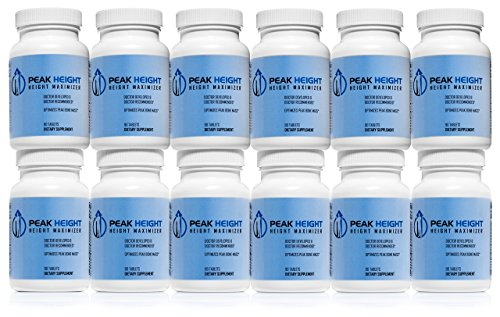#1 Grow Taller Height Pill Supplement - Peak Height 12 Month Supply - Height Supplement - Doctor Recommended - How to Grow Taller 90 tablets (Pack of 12)