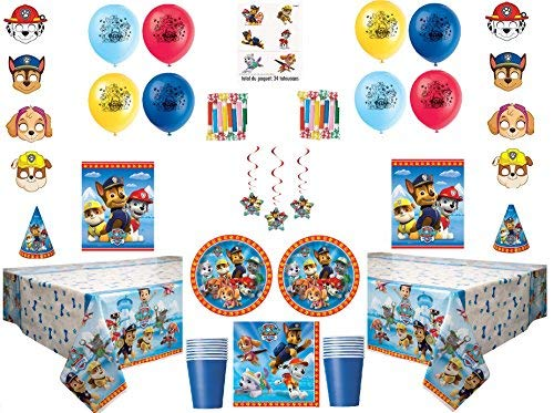 Paw Patrol Deluxe Party for 16 Guests - Includes Plates, Cups, Napkins, Birthday Hats, Balloons, Masks, Loot Bags, Hanging Swirls, Tattoos, Tablecovers, Blowouts - Decorations Supplies
