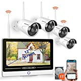 """【2019 NEW】All in One with 12"""" Monitor Security Camera System Wireless,SMONET 8-Channel 1080P Home Security System (1TB Hard Drive),4pcs 1.3MP Outdoor Wireless IP Cameras,P2P,Easy Remote View,Free APP"""