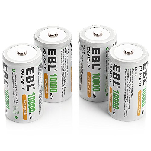 EBL D Size Battery D Cell 10000mAh Huge Capacity Ni-MH Rechargeable D Batteries with Storage Box, 4 Counts