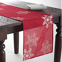 "Embroidered White Snowflake Holiday Christmas Red Table Runner. 16""x70"" Rectangular. One Piece."