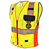 KwikSafety (Charlotte, NC) CLASSIC SUPREME (10 Pockets) Class 2 ANSI High Visibility Reflective Safety Vest Heavy Duty Mesh with Zipper and Hi Vis Construction Work Men Yellow Black Orange L/XL