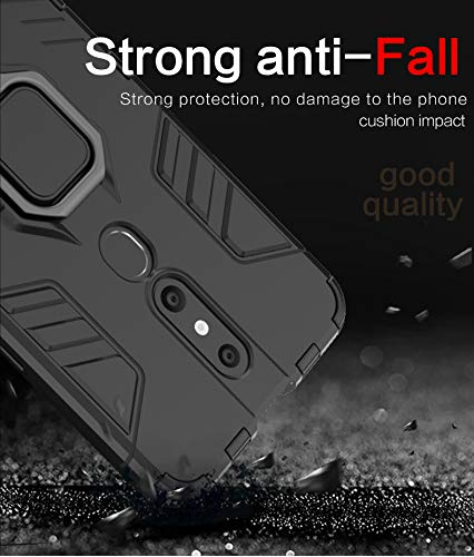 Casodon Back Cover Kickstand View Ring Holder Armor Case for Oppo F11 Pro (Black) 4