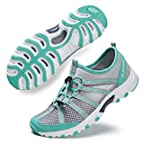 ALEADER Water Hiking Shoes for Women, Outdoor, Camp, Kayaking, Wet/River Walking Sneakers Lt Gray/Aqua 9 B(M) US