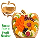 Dried Fruit Gift Basket - Healthy Gourmet Food - Vegan, Kosher, Gluten-Free Gift Box - Apple Tray, Deluxe Multi-Functional Foldable Tray, Trivet and Fruit Basket - Mother's Day, Birthday, Sympathy, Ho