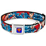 "Buckle-Down 15-26"" Superman Action Poses/Stars & Stripes Dog Collar, Large"