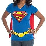 Supergirl Juniors Royal V-Neck Cape Tee (Small)