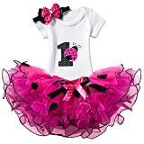 NNJXD Girl Ladybirds Tutu 1st ONE Birthday 3 Pcs Outfits Romper+Skirt+ Gold Headband Size (1) 1 Year Rose