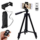 Hi-tec 42 Inch Aluminum Portable Phone Tripod for Iphone with Holder Mount + Bluetooth Remote Shutter+Bag for Camera and Any Smartphone Cell phone