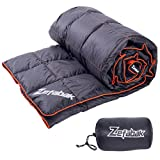 Down Blanket for Camping Indoor Outdoor by ZEFABAK Puffy 600 Fill Power Duck Down Cloudlet Blanket or Sleeping Bag Replacement,Down Filling Weight 11 OZ,with Reflective Logo, 80' x 54', Black