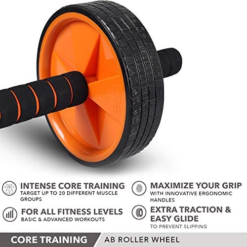 Ab Wheel Roller by Day 1 Fitness for Core Training, with Extra Traction and Easy Glide - Premium, Durable Exercise Wheel with Non-Slip Grip for Men and Women - Abdominal Workout Equipment for Obliques 6