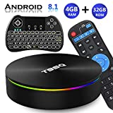 Android TV Box 8.1, EVANPO Android TV Player Quad-Core Amlogic S905X2 4GB/32GB Support Dual Band WiFi/H.265/ BT4.1/ USB 3.0/ 1000M LAN/3D/4K Ultra HD Smart Box Media Player with Wireless Mini Keyboard