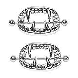 MTRSUE Nipple Piercing, 2pcs Stainless Steel Vampire Teeth Nipple Rings Body Nipplerings Piercing Women Nipple Piercing Jewelry Nipplerings Rings Nipple Jewerly Nipple Percings