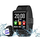 Smart Watch, Fitness Tracker Heart Rate & Blood Pressure & Sleep Monitor Compatible iOS & Android, Waterproof Steel Activity Tracker Color Screen, Calorie/Step Counter Men Women Kids