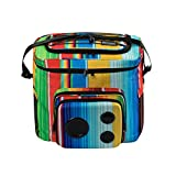 The #1 Cooler with Speakers & Subwoofer (Bluetooth, 15-Watt) for Parties/Festivals/Boat/Beach. Rechargeable Speaker Cooler, Works with iPhone & Android (Rainbow, 2019 Edition)