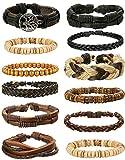 LOLIAS 24 Pcs Woven Leather Bracelet for Men Women Cool Leather Wrist Cuff Bracelets Adjustable (Style D1:12 SMS)