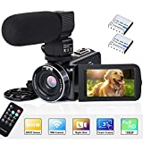 Video Camera Camcorder WiFi IR Night Vision FHD 1080P 30FPS 26MP YouTube Vlogging Camera Recorder 3' Touch Screen 16X Digital Zoom Digital Camera with Microphone,Remote Control