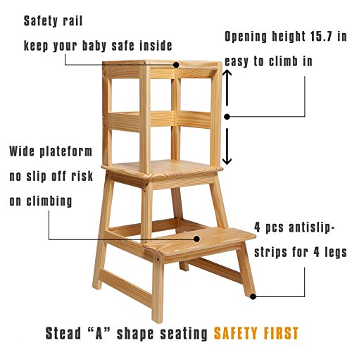 SDADI Kids Kitchen Step Stool with Safety Rail CPSC Certified - for Toddlers 18 Months and Older, Natural LT01N