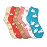 6 Pairs of Plain or Striped Super Soft Fuzzy Anti-Skid Crew Socks