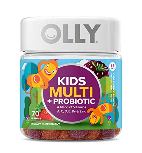 OLLY Kids Multi + Probiotic Gummy Multivitamin, 35 Day Supply (70 Gummies), Yum Berry Punch, Vitamins A, C, D, E, B, Zinc, Probiotics, Chewable Supplement