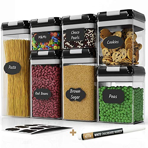 Chef's Path Airtight Food Storage Container Set - 7 PC Set - 10 FREE Chalkboard Labels & Marker - BEST Kitchen & Pantry Containers - BPA Free - Clear Plastic Canisters with NEW Durable Lids