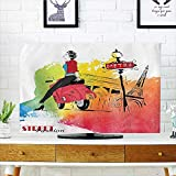 Auraisehome tv dust Cover Decor Woman on Pink Motorcycle Trend Vogue in Paris Eiffel Tower Art Print Dust Resistant Television Protector W25 x H45 INCH/TV 47'-50'