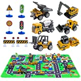 """Construction Vehicles Toys with Play Mat, 6 Construction Cars, 6 Road Signs and 15.5"""" x 23.5"""" Playmat, Mini Diecast Cars Play Sets, Toy Trucks, Perfect Toy Cars Party Supplies"""