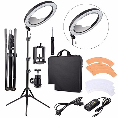EACHSHOT ES240 Kit, {Including Light, Stand, Mirror, Bag, Bracket} 18″ 5500K Dimmable LED Adjustable Ring Light with 2 Color Diffuser
