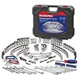 WORKPRO Socket Wrench Set, 164-piece Mechanics Tool Kit 1/4 Inch, 3/8 Inch and 1/2 Inch Drive Quick Release Ratchet, Metric and Standard 6-Point 12-Point Sockets, with Blow Molded Case