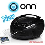 ONN CD/AM/FM Portable Boombox ONA16AA005 with 3.5mm Auxiliary Line-in Jack for MP3 Players - Black