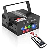 SUNY Laser RGB Lights Sound Activated Music Laser Projector 80 Combinations 5 Lens Gobos Laser Lights Blue LED Remote Control Stage Lighting Red Green Blue DJ Light Live Show Party Dance Home Holiday