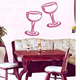 LONGHUI Two Glasses of Wine Champagne Wall Stickers Kitchen Cafe Living Room Home Interior Design Wall Vinyl Decal Sticker 44X44CM