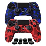 Hikfly Silicone Gel Controller Cover Skin Protector Compatible for Sony Playstation 4 PS4/PS4 Slim/PS4 Pro Controller (2X Controller Camouflage Cover with 8 x FPS Pro Thumb Grip Caps)(Red,Blue)