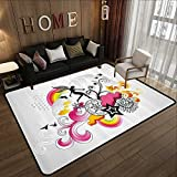 Durable Rubber Floor Mat,Modern,Floral Theme Swirl Design Fairy Birds Rainbow Snowflake and Clouds Art,Dust Black and Pink 35'x 59' Non-Slip Modern Carpet