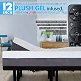 Blissful Nights 12' Split King Cool Gel Infused Plush Memory Foam Mattress with Premium Adjustable Bed Frame Combo, Massage, USB, Zero Gravity,Anti-Snore, Nightlight (King Split)