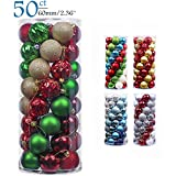 Teresa's Collections 50ct 60mm Country Road Red Green Gold Shatterproof Christmas Ball Ornaments Decoration,Themed with Tree Skirt(Not Included)