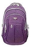 Girl Multipurpose Dot Primary Junior High University School Bag Bookbag Backpack (19 Liters, Purple)