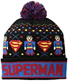 Superman Men's Intarsia Fair Isle Cuff Pom Beanie, Black, One Size