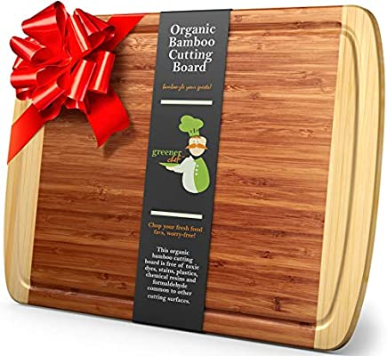 Extra Large Organic Bamboo Cutting Board For Kitchen Lifetime Replacement Boards Best Wood Butcher Block With Juice Groove For Chopping Vegetables Carving Meat Wooden Serving Tray For Cheese