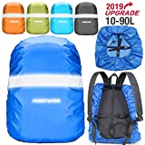 FANCYWING Waterproof Backpack Rain Cover with Reflective Strap, Upgraded 10-90L Non-Slip Rainproof Backpack Cover for Hiking, Camping, Hunting, Rain Cycling, Blue, Small