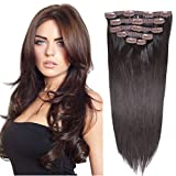 16'Clip in Hair Extensions Real Human Hair Double Weft Thick to Ends Dark Brown(#2) 6pieces 70grams/2.45oz