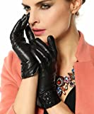 Warmen Women's Touchscreen Texting Driving Winter Warm Nappa Leather Gloves - 7.5 (US Standard size) - Black ( Fleece Lining )
