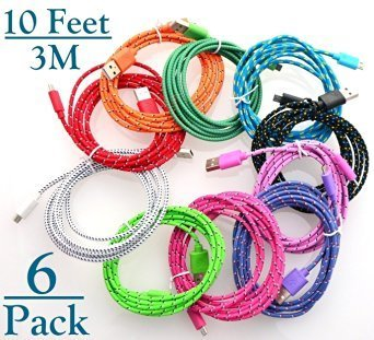 Josi Minea 6 Pcs Fabric Braided Nylon Premium High Quality Ruggedized Micro USB Rainbow Cables 10 Feet / 3 Meter Charger Sync Data Rapid Charging Cable USB Cord Wire for Samsung Galaxy S4 / S3 / S2, Samsung Galaxy Note / Note 2, Galaxy Tab, Google Nexus 7 / 10, Nokia Lumia, and Most Android Tablets / Android Phones / Windows Phones - 10Ft/3M (6 Pack)