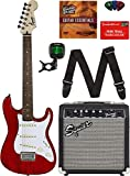 Squier by Fender Short Scale (24') Stratocaster - Transparent Red Bundle with Frontman 10G Amp, Cable, Tuner, Strap, Picks, Fender Play Online Lessons, and Austin Bazaar Instructional DVD