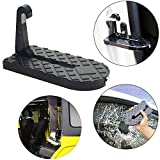 MOEBULB Car Doorstep Foot Pegs Folding Ladder Door Step Foot Pedal with Safety Hammer Vehicle Hooked on U Shaped Slam Latch Step Rails for Easy Access to Rooftop of Jeep/SUV/Truck
