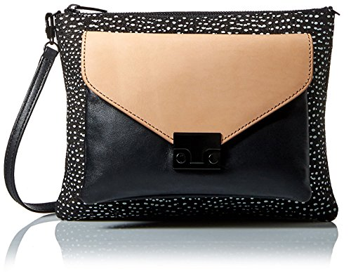51l%2BUnzqrAL Zip-top clutch in patterned leather featuring detachable color-block envelope pouch at front Removable cross-body strap