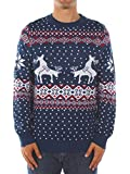 Product review for Men's Ugly Christmas Sweater - Reindeer Climax Tacky Christmas Sweater Blue